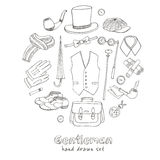 Gentlemans vintage accessories doodle set. Royalty Free Stock Photo
