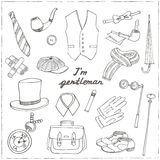 Gentlemans vintage accessories doodle set. Stock Photos