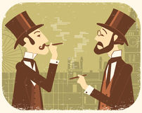 Gentlemen in bowler hats.Vintage London background Royalty Free Stock Images