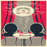 Gentlemen club illustration. Vector room with table and chairs Stock Images