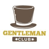 Gentlemen club logo in vintage style on white. Gentlemen club logo in vintage style with long brown hat and inscription below isolated on white. Vector colorful Stock Image