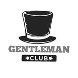 Gentlemen club logo in vintage style on white. Gentlemen club logo in vintage style with long brown hat and inscription below isolated on white. Vector colorless Royalty Free Stock Image