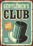 Gentlemen club retro poster design. Layout with hat on old metal texture Royalty Free Stock Photo