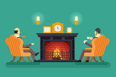 Gentlemen at Fireplace Tea Drink Evening Discussing Business Concept Icon Background Flat Design Vector Illustration. Gentlemen Fireplace Tea Drink Evening Royalty Free Stock Photos