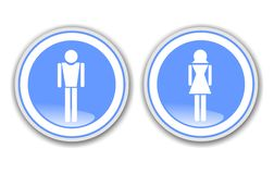 Gentlemen and ladies. Signs indicating the services for gentlemen and ladies Royalty Free Stock Images