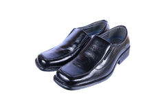 gentlemen luxury black leather shoes isolated on white Stock Photography