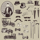Gentlemen's Accessories and Old Cars. Set- High Quality Stock Image