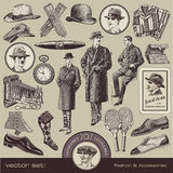 Gentlemen's fashion and accessories. Set of vintage fashion illustrations and design elements (20s Royalty Free Stock Photography