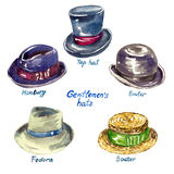 Gentlemen`s hats types. Top hat, Homburg, Fedora, Boater, Bowler, hand painted watercolor illustration Stock Photography