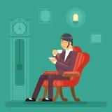 Gentlemen Tea Time Drink Evening Flat Design Vector Illustration Royalty Free Stock Images
