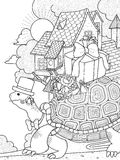 Gentlemen turtle adult coloring page. Adult coloring page - gentlemen turtle moving house Stock Photography