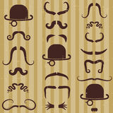 Gentlement with mustache and hat on vintage  Stock Photos