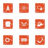 Gentleness icons set, grunge style. Gentleness icons set. Grunge set of 9 gentleness vector icons for web isolated on white background Royalty Free Stock Photo