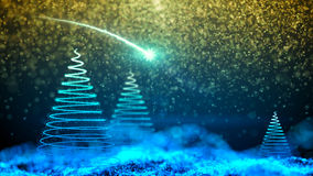 Gently falling snow with Christmas tree Royalty Free Stock Images