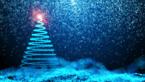Gently falling snow with Christmas tree Royalty Free Stock Photography
