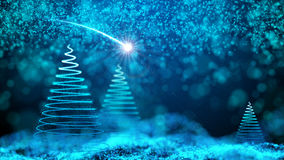 Gently falling snow with Christmas tree Stock Photos