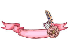 Gently pink ribbon decorated with flower and feather. Isolated. Place for your inscription. Ready template for your design. Vector. Gently pink ribbon decorated Stock Image