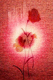 Gently poppies on the canvas. Royalty Free Stock Photo