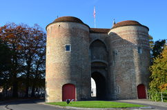 Gentpoort (Gate of Ghent) in the beautiful city of Bruges, Belgium Royalty Free Stock Images