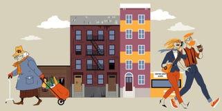 Gentrification de la vecindad stock de ilustración