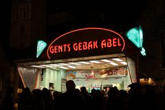 Gents Gebak Abel, Ghent Belgium, Light festival royalty free stock photography