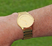 Gents Gold Wrist Watch Royalty Free Stock Photo