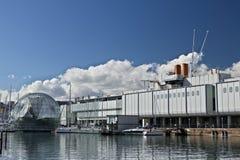 genua Alter Hafen und Aquarium stockbilder