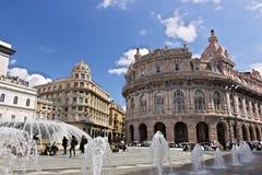 genua Brunnen von Piazza de Ferrari lizenzfreies stockbild