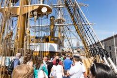 Genua, Italien: Am 10. Juni 2016; Italienische Marine-Schiff, Amerigo Vespucci Lizenzfreies Stockbild