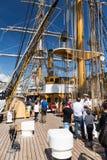 Genua Italien: 10 Juni 2016; Skepp för italiensk marin, Amerigo Vespucci Royaltyfri Fotografi
