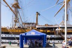 Genua Italien: 10 Juni 2016; Skepp för italiensk marin, Amerigo Vespucci Royaltyfria Bilder