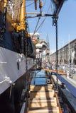 Genua Italien: 10 Juni 2016; Skepp för italiensk marin, Amerigo Vespucci Arkivfoto