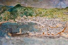 GENUA ITALIEN - MARS 29, 2014: Vägg- målning för freskomålning som visar staden av Genua i århundradet XVI Arkivfoton