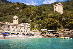 Genua Italien San Fruttuoso abbotskloster Arkivbilder