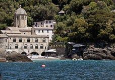 GENUA ITALIEN, San Fruttuoso fjärd Royaltyfria Foton