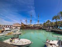 GENUA ITALIEN: Spansk gallion Neptun i den Porto anticoen Royaltyfria Foton