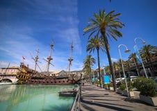 GENUA ITALIEN: Spansk gallion Neptun i den Porto anticoen Fotografering för Bildbyråer