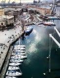 Genua, Italy_-Hafen-Vogelperspektive stockbild