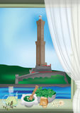Genua Laterne und pesto stock abbildung