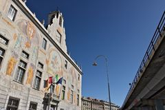 genua Paleis van San Giorgio en de opgeheven weg stock foto