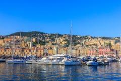 Genua-Seehafen mit Yachten, Italien stockbilder