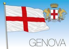Genua stadsflagga och vapensköld, Italien royaltyfri illustrationer