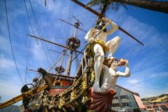 GENUA, WŁOCHY: Galeon Neptun w Porto antico Obrazy Royalty Free