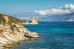 Genueńczyka wierza przy Mortella blisko St Florent w Corsica Zdjęcie Stock