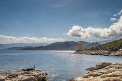 Genueńczyka wierza przy Mortella blisko St Florent w Corsica Fotografia Stock