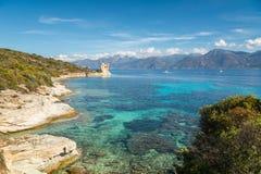 Genueńczyka wierza przy Mortella blisko St Florent w Corsica Obrazy Stock
