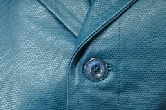 Genuine blue leather jacket Royalty Free Stock Image