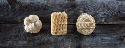 Genuine bodycare collection for dry brushing and sauna, flat lay. Genuine bodycare collection of natural loofah sponges for dry brushing, massage or sauna set Royalty Free Stock Photography