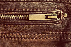 Genuine brown leather with zip and seam Royalty Free Stock Photos