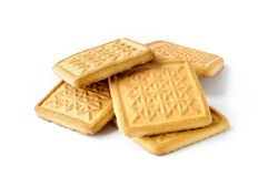 Genuine Butter Cookies. Traditional and genuine tasty butter cookies for breakfast or tea time,  on white background Stock Photo